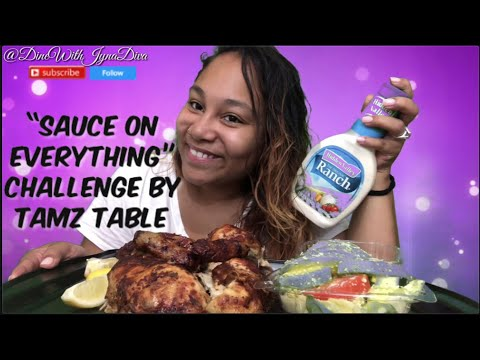 WHOLE ROTISSERIE AND AVOCADO SALAD | SAUCE ON EVERYTHING CHALLENGE BY TAMZ TABLE | EATING SHOW