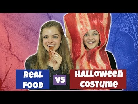 Real Food vs Halloween Costume ~ Eat It or Be It Challenge ~ Jacy and Kacy