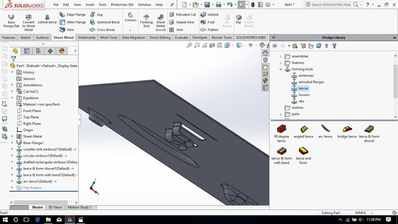 Forming Tool Using In Solidworks Sheet Metal 2017 Youtube