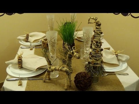 Сервировка новогоднего стола в экостиле