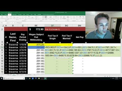 Payroll 2018 in Excel - Calculate Federal Income Tax Withholding