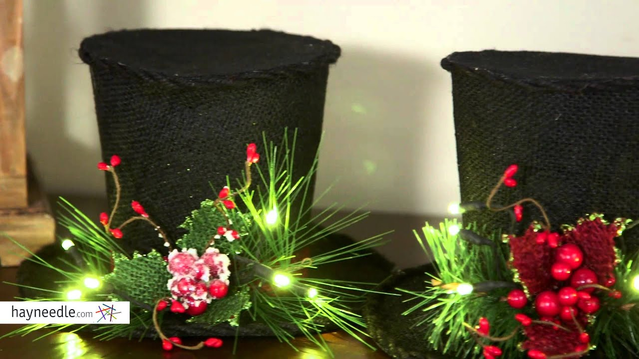 lighted black burlap holiday top hat set product review video