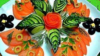Украшения из овощей. Украшения из огурца. Как красиво нарезать огурец. Decoration of vegetables(Карвинг из огурца. Как нарезать красиво огурец. Как красиво оформить блюдо. Легкий карвинг. Все делаем прост..., 2014-01-09T16:42:29.000Z)