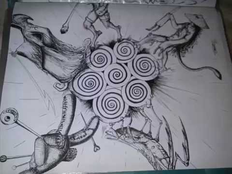 Trotamundo. Dibujo a plumilla por Emanuel Fonseca.