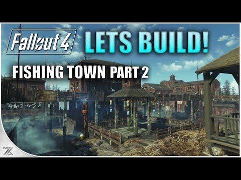 Fallout 4 Far Harbor - Lets build Longfellows Cabin Part 2 | Fishing Town
