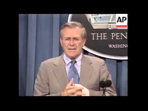 Pentagon briefing by Defence Secretary Rumsfeld