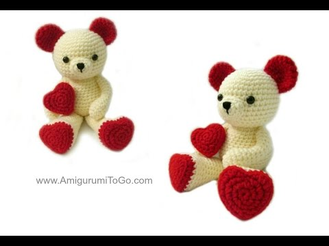 Amigurumi Valentine Teddy Bear Part Two : Oso, gato, chancho y conejo bebes en pijamas (crochet ...