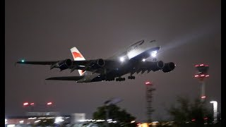 She looks even better at Night Airbus A380 Take off