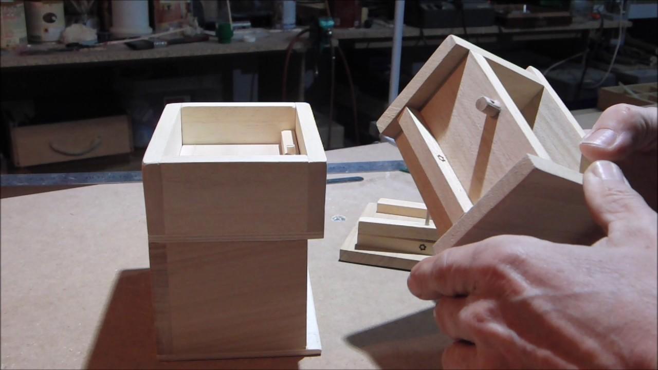 Caja de madera apertura y compartimento secreto - YouTube