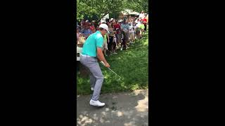 Spieth challenging the rules official at the Memorial