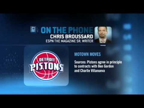 Detroit Pistons agree in principle to contracts with Gordon & Villanueva (ESPN News)
