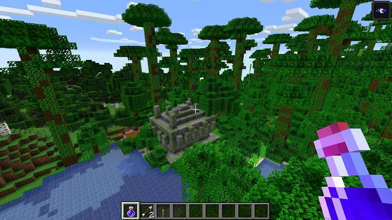 Minecraft 10.1010.10 Seed 10: Jungle biome with temples and diamonds