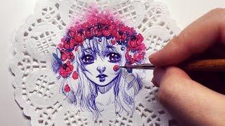Starry Flower Crown - Watercolor + Pen on Doily Speedpaint