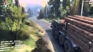SpinTires 2014  MAZ long logs River 5 Gameplay