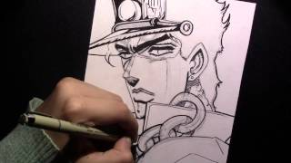 Speed Drawing Jotaro from Jojo