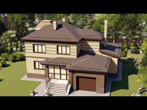 Большой двухэтажный дом с гаражом и верандой на задний двор