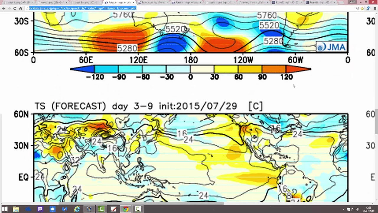 Gavs Weather Vids >> Mixed August Ideas From JMA Friday (31/7/15) - YouTube