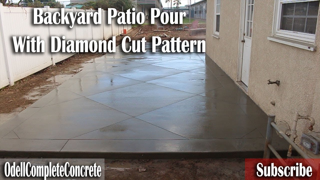 How To Pour A Backyard Patio Slab With Diamond Cut Pattern Start To Finish.  Odell Complete Concrete