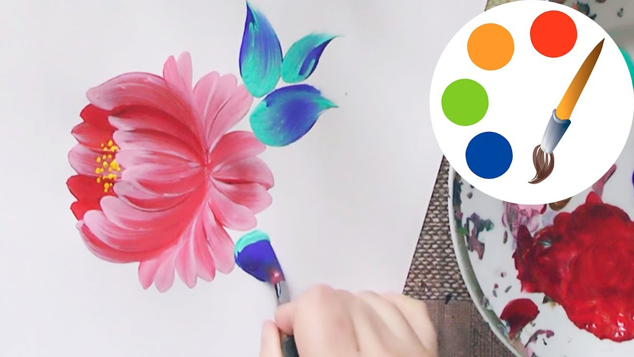 Easy way to paint a simple flower by a round brush acrylic painting irishkalia