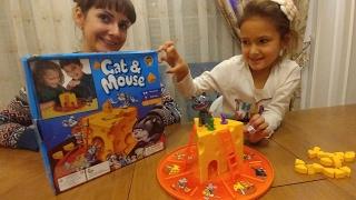 Настольная игра КОТ И МЫШИ.Убеги от кота и собери сыр.Видео для детей.Игра для детей.
