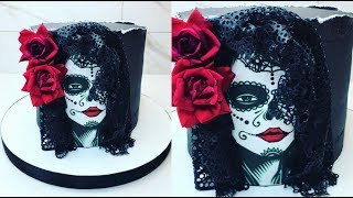 Cake decorating tutorials | halloween dia de los muertos cake | Sugarella Sweets