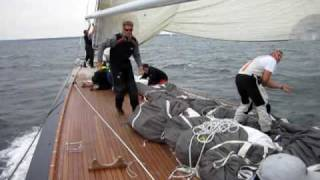 Spinnaker takedown onboard the J Class Yacht Hanuman