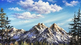 Simple Mountain with Blue Sky  Acrylic Painting - Exercise lesson 2