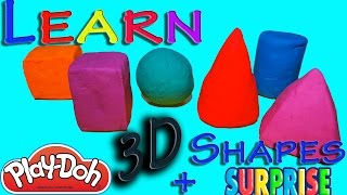 Learn 3D Shapes (sphere, cylinder, cube, cone, cuboid and pyramid) lesson for kids with surprise