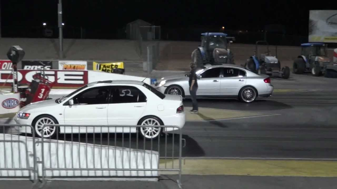 2002 Lancer EVO VII vs 2006 Infiniti G35 14 Mile  YouTube