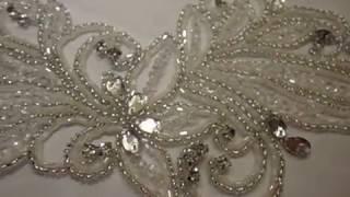 Аппликация...Вышивка на сетке для свадебного платья...Украшение...