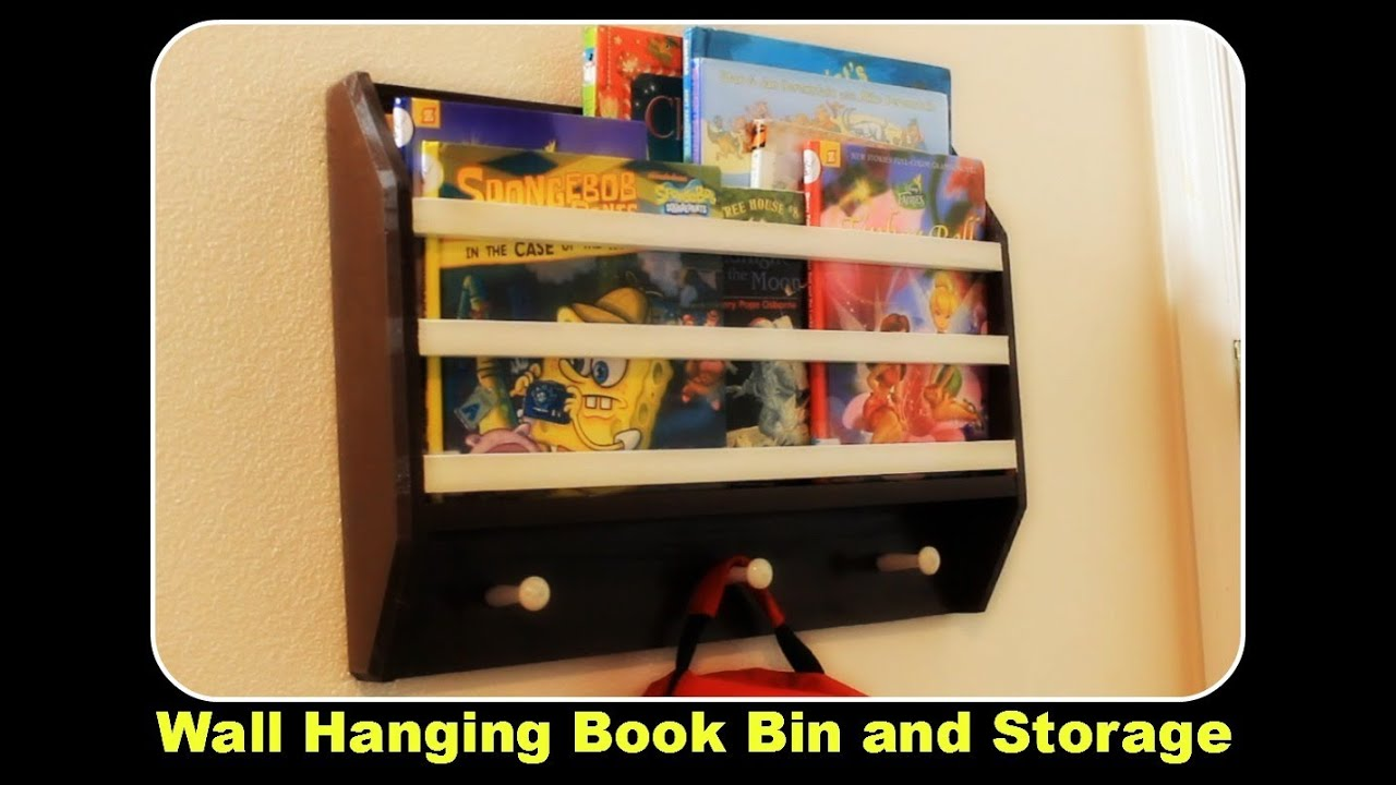 Hanging Book Rack wall hanging book bin / magazine rack - youtube