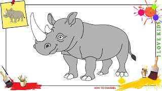 How to draw a rhino SIMPLE, EASY & SLOWLY step by step for kids
