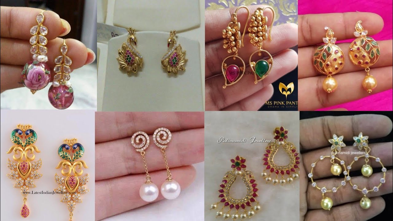 77979b3f37536 Light weight gold earrings design ideas/daily wear simple earrings  collection by Random Fashion Stuff