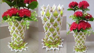How to make flower vase | Easy flower vase | Cotton ear buds flower vase | 135