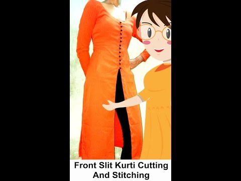 Front Slit Kurti Cutting And Stitching | DIY - Tailoring With Usha