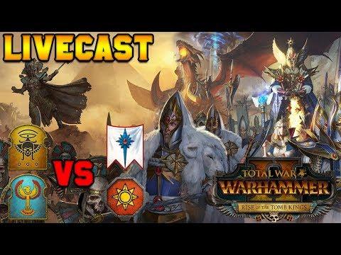 Tomb Kings (Turin) v High Elves (DahvPlays) & Lizards (JonTaun) BEST OF 3 |Total War: Warhammer 2