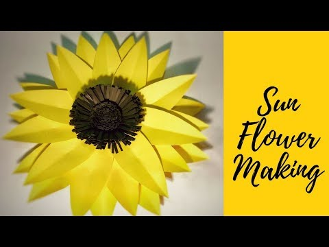 how-to-make-sunflower(helianthus-annuus)-with-paper|shim's-paper-crafts