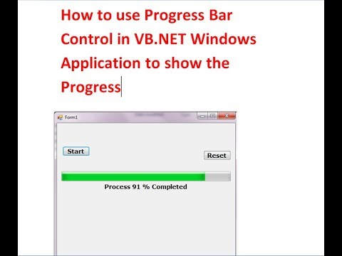 How To Use Progress Bar Control In VB.NET Windows Application To Show The Progress
