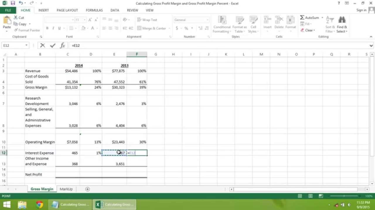 gross profit calculation in excel