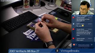 01-18-2019 2007 Artifacts Baseball Box 27 Break Opening Video