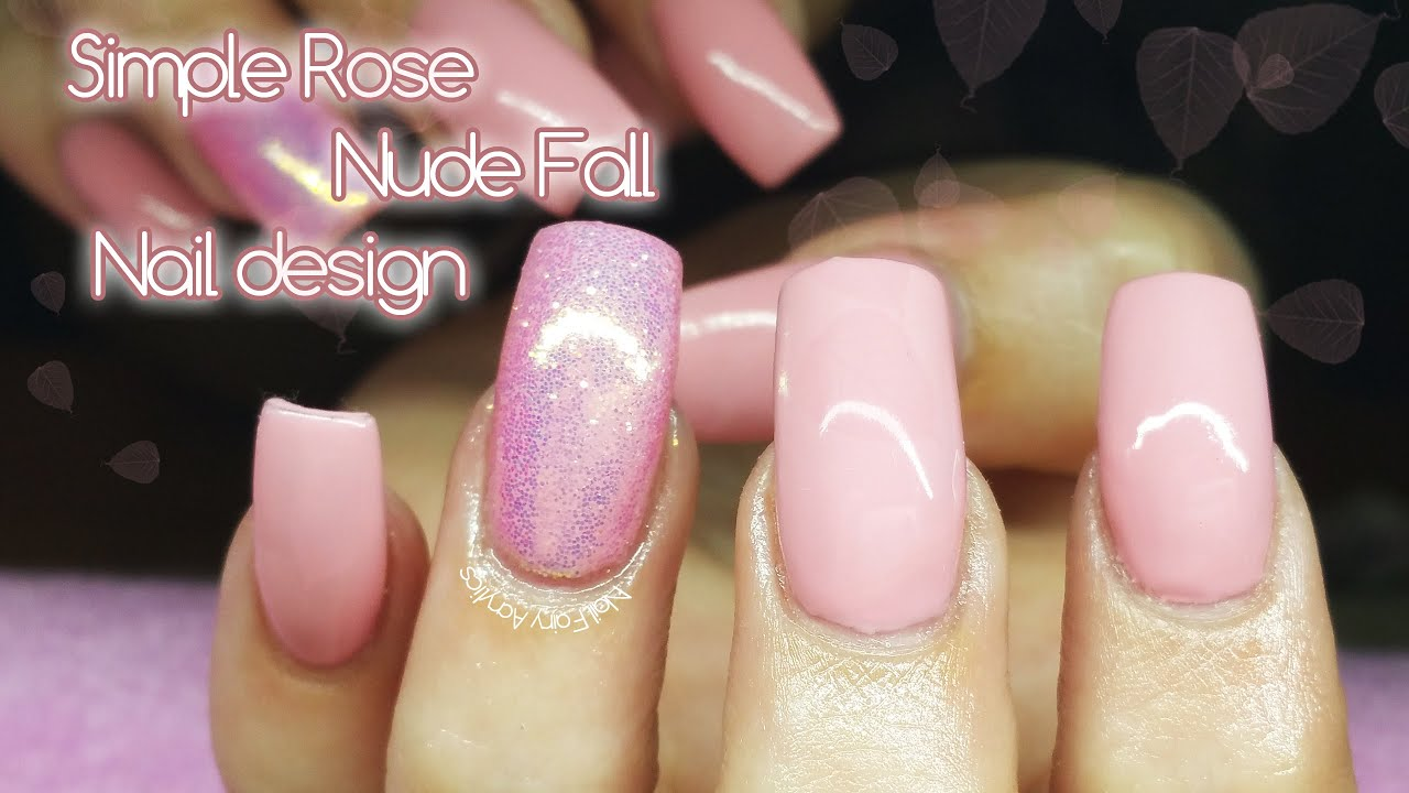 Pink nude Fall nail design | gel polish | simple nail design - Pink Nude Fall Nail Design Gel Polish Simple Nail Design - YouTube