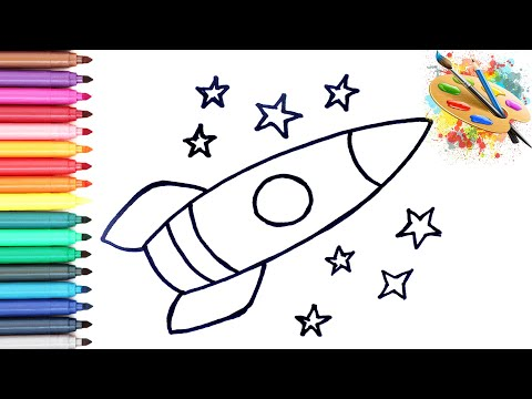 Раскраска для детей РАКЕТА. Мультик - раскраска. УЧИМ ЦВЕТА на русском