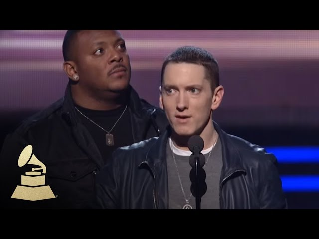 Eminem accepting the GRAMMY for Best Rap Album at the 53rd GRAMMY Awards | GRAMMYs
