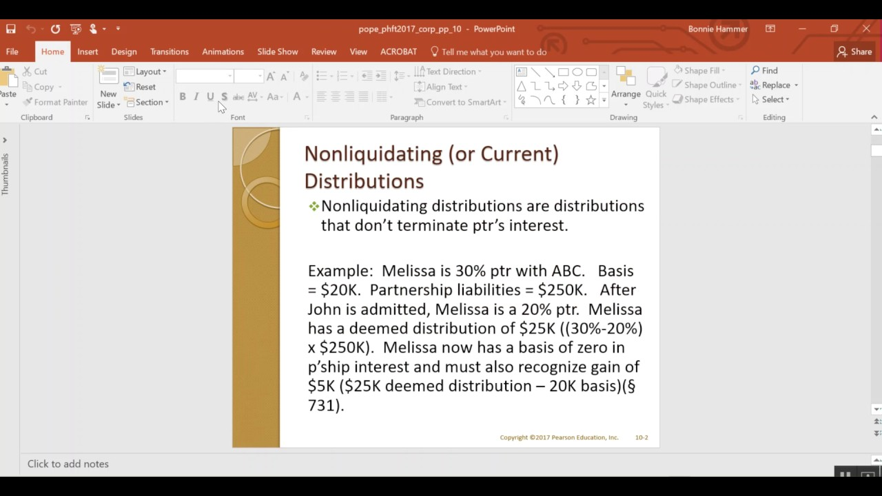 Tax treatment of nonliquidating distributions