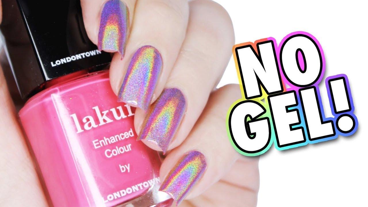 HOW TO USE HOLOGRPAHIC POWDER WITHOUT GEL   Pink Holo Manicure - YouTube