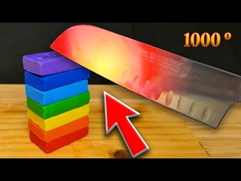Thumbnail: EXPERIMENT Glowing 1000 degree KNIFE VS PLAY DOH RAINBOW - EXPERIMENT AT HOME