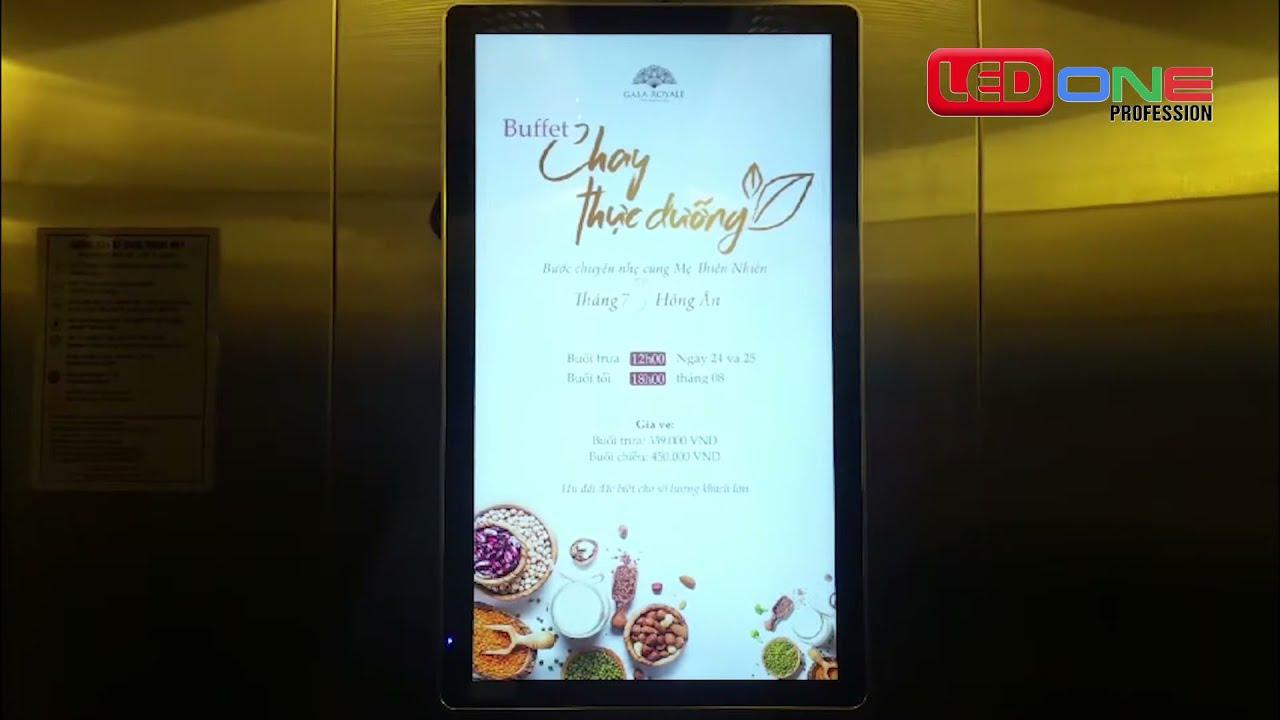 Lắp màn hình quảng cáo trong thang máy 22inch đứng.