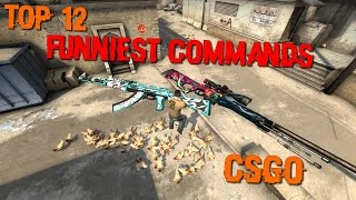 CSGO  - TOP 12 FUNNIEST COMMANDS (Giants weapons, chicken rain, slow motion, wallhack...)