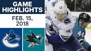 NHL Game Highlights   Canucks vs. Sharks - Feb. 15, 2018