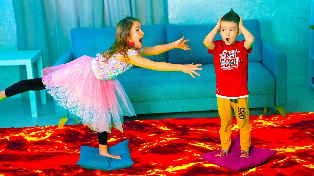 आर्थर और मेलिसा खेल रहे हैं   फर्श लावा चुनौती है